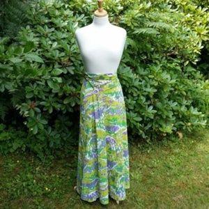 Vtg Kamehameha Skirt or Strapless Dress Neon